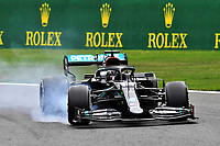 29th August 2020, Spa Francorhamps, Belgium, F1 Grand Prix of Belgium , qualification;  44 Lewis Hamilton GBR, Mercedes-AMG Petronas Formula One Team  locks up on his way to taking pole