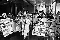 - Radical Party activists occuping the Rome headquarters of RAI  in protest against censorship of television to the referendum on public financing to political parties and the repeal of the Realel Law (Rome, January1978)<br /> <br /> - militanti del Partito Radicale  ocucupano la sede RAI di Roma in protesta contro la censura della televisione ai  referendum sul finanziamento pubblico ai partiti e sulla abrogazione della Legge Reale (Roma, gennaio1978)