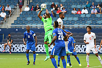 KANSASCITY, KS - JULY 11: Meslien Gilles #23 of Martinique catches the ball during a game between Canada and Martinique at Children's Mercy Park on July 11, 2021 in KansasCity, Kansas.
