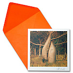 """Boab or Australia Baobab<br /> 6.5"""" x 6.5"""" Exceptional, framing-quality square card with color-coordinated envelope.<br /> <br /> Embossed with signature, printed on watercolor paper.  <br /> Watermark does not appear on product."""