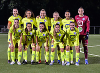 goalkeeper Nicky Evrard (1) of AA Gent, Emma Van Britsom (6) of AA Gent, Shari Van Belle (8) of AA Gent, Lyndsey Van Belle (14) of AA Gent, Raquel Viaene (15) of AA Gent, Lore Jacobs (17) of AA Gent, Lobke Loonen (19) of AA Gent, Silke Vanwynsberghe (21) of AA Gent, Nia Elyn (24) of AA Gent, Bodil Van Den Heuvel (22) of AA Gent and Rania Boutiebi (27) of AA Gent pictured during a female soccer game between  Racing Genk Ladies and AA Gent Ladies ,  on the 6 th  matchday of the 2021-2022 season of the Belgian Scooore Womens Super League , friday 8 october 2021  in Genk , Belgium . PHOTO SPORTPIX | JILL DELSAUX