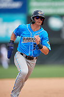 Akron RubberDucks Mitch Longo (30) running the bases during an Eastern League game against the Bowie Baysox on May 30, 2019 at Prince George's Stadium in Bowie, Maryland.  Akron defeated Bowie 9-5.  (Mike Janes/Four Seam Images)