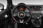 Steering wheel view of a 2014 Fiat 500c Abarth Cabrio 2 Door Convertible