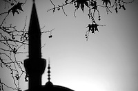 Mosque minaret in the autumn, Turkey
