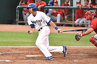 Michael Ahmed (14) of the Ogden Raptors at bat against the Orem Owlz in Pioneer League action at Lindquist Field on August 20, 2014 in Ogden, Utah.  (Stephen Smith/Four Seam Images)