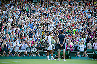 England, London, 28.06.2014. Tennis, Wimbledon, AELTC, Rafael Nadal (ESP) says good-bye to the crowd at centercourt<br /> Photo: Tennisimages/Henk Koster