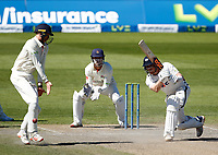 30th May 2021; Emirates Old Trafford, Manchester, Lancashire, England; County Championship Cricket, Lancashire versus Yorkshire, Day 4; Dom Bessof Yorkshire hits an off drive past Lancashire fielder Luke Wells