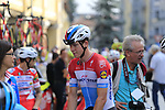 Luxembourg National Champion Bob Jungels (LUX) Quick-Step Floors arrives for the start of the 99th edition of Milan-Turin 2018, running 200km from Magenta Milan to Superga Basilica Turin, Italy. 10th October 2018.<br /> Picture: Eoin Clarke | Cyclefile<br /> <br /> <br /> All photos usage must carry mandatory copyright credit (© Cyclefile | Eoin Clarke)