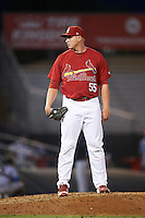 Palm Beach Cardinals relief pitcher Michael Heesch (55) during a game against the Jupiter Hammerheads  on August 12, 2016 at Roger Dean Stadium in Jupiter, Florida.  Jupiter defeated Palm Beach 9-0.  (Mike Janes/Four Seam Images)