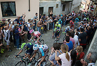 maglia rosa Steven Kruijswijk (NLD/LottoNL-Jumbo) surrounded by GC competitors on the last ascent of the very steep (20%) cobbled Via Principi d'Acaja<br /> <br /> stage 18: Muggio - Pinerolo (240km)<br /> 99th Giro d'Italia 2016