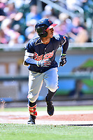 Gwinnett Braves second baseman Ozzie Albies (1) runs to first base during a game against the Charlotte Knights at BB&T Ballpark on May 7, 2017 in Charlotte, North Carolina. The Knights defeated the Braves 7-1. (Tony Farlow/Four Seam Images)