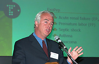 Montreal, May 10, 2001<br /> Andre De Villers, M.D., President and CEO of Theratechnologies Inc. present his report at the company annual meeting, May 10 in Montreal, CANADA.<br /> Theratechnologies Inc is a Canadian biopharmaceutical company engaged in the fields of therapeuticc peptides and cell theraphy.<br /> One of their products ; Theralux (tm) has reached Phase I/II status in CML ans is at a pivotal stage in NHL, bringing this product closer to commercialization<br /> By the 2nd quater of 2002, Theratechnologies expect to fullfill all the requirements to be listed on Nasdaq.<br /> Photo by Pierre Roussel / Liaison<br /> NOTE :  Uncorrected Nikon D-1 JPEG opened as NTSC saved as Adobe RGB color space..