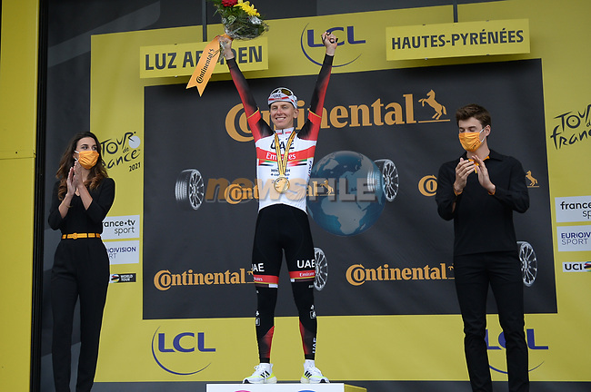 Yellow Jersey Tadej Pogacar (SLO) UAE Team Emirates wins Stage 18 of the 2021 Tour de France, running 129.7km from Pau to Luz-Ardiden, France. 15th July 2021.  <br /> Picture: Colin Flockton | Cyclefile<br /> <br /> All photos usage must carry mandatory copyright credit (© Cyclefile | Colin Flockton)