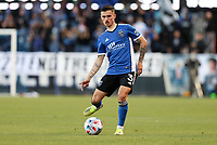 SAN JOSE, CA - MAY 15: Paul Marie #3 of the San Jose Earthquakes passes off the ball during a game between Portland Timbers and San Jose Earthquakes at PayPal Park on May 15, 2021 in San Jose, California.