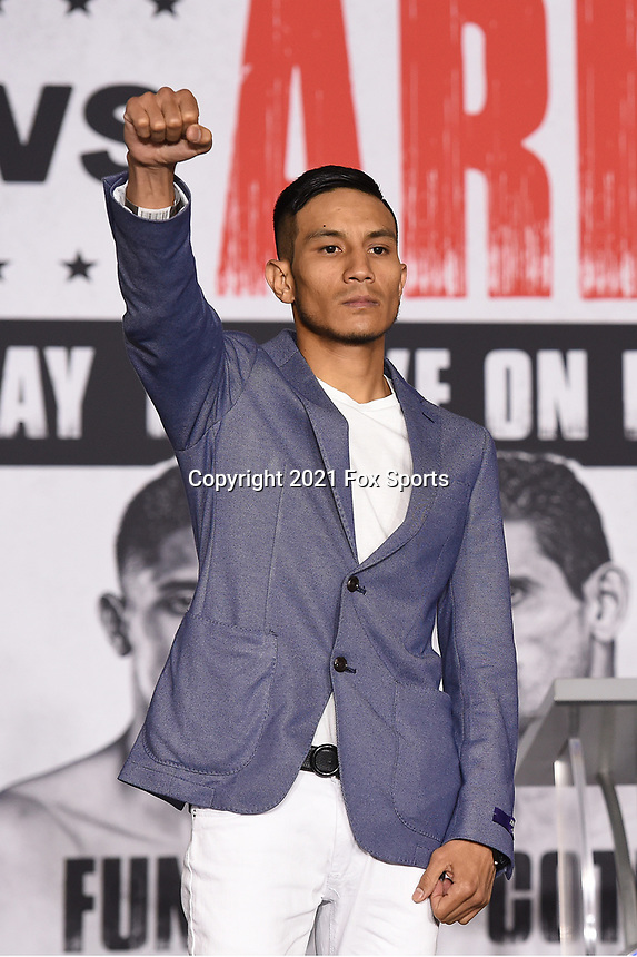LOS ANGELES, CA - APRIL 29: Eduardo Ramirez attends the undercard press conference for the Andy Ruiz Jr. vs Chris Arreola Fox Sports PBC Pay-Per-View in Los Angeles, California on April 29, 2021. The PPV fight is on May 1, 2021 at Dignity Health Sports Park in Carson, CA. (Photo by Frank Micelotta/Fox Sports/PictureGroup)