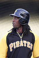 Pittsburgh Pirates outfielder Andrew McCutchen #22 before a game against the Los Angeles Dodgers at Dodger Stadium on September 16, 2011 in Los Angeles,California. Los Angeles defeated Pittsburgh 7-2.(Larry Goren/Four Seam Images)