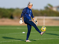 ORLANDO, FL - JANUARY 21: Jane Campbell #24 of the USWNT juggles the ball during a training session at the practice fields on January 21, 2021 in Orlando, Florida.