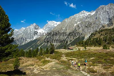 Oesterreich, Ost-Tirol: Wandern beim Staller Sattel unterhalb der Riesenfernergruppe am Ende des Defereggentals   Austria, East-Tyrol: hiking near Staller Sattel passroad below Riesenferner Group mountains in Defereggen Valley