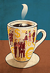 Conceptual shot of hot coffee cup with currency symbols and people on it