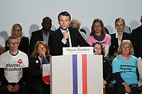 EMMANUEL MACRON MEETING A ARRAS, FRANCE, LE 26/04/2017