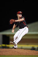 Batavia Muckdogs starting pitcher Taylor Braley (10) delivers a pitch during the second game of a doubleheader against the Mahoning Valley Scrappers on August 28, 2017 at Dwyer Stadium in Batavia, New York.  Mahoning Valley defeated Batavia 2-0.  (Mike Janes/Four Seam Images)