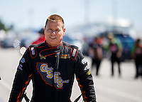 Sep 4, 2016; Clermont, IN, USA; NHRA funny car driver Jim Campbell during qualifying for the US Nationals at Lucas Oil Raceway. Mandatory Credit: Mark J. Rebilas-USA TODAY Sports