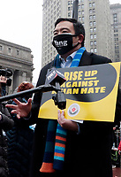NEW YORK, NEW YORK- FEBRUARY 27, 2021: New York City Mayoral Candidate Andrew Yang attends the American Asian Federation's Anti-Asian Hate Rally held at Foley Square/Federal Plaza in the lower Manhattan section of New York City on February 27, 2021.  Photo Credit: mpi43/MediaPunclh