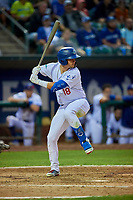 Andy Pages (18) of the Ogden Raptors at bat against the Grand Junction Rockies at Lindquist Field on September 9, 2019 in Ogden, Utah. The Raptors defeated the Rockies 6-5. (Stephen Smith/Four Seam Images)
