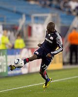New England Revolution midfielder Sainey Nyassi (17) controls cross field pass at the line. The New England Revolution defeated Houston Dynamo, 1-0, at Gillette Stadium on August 14, 2010.