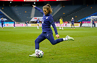 SOLNA, SWEDEN - APRIL 10: Kelley O'Hara #5 of the United States warming up before a game between Sweden and USWNT at Friends Arena on April 10, 2021 in Solna, Sweden.