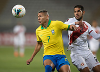 13th October 2020; National Stadium of Peru, Lima, Peru; FIFA World Cup 2022 qualifying; Peru versus Brazil;  Luis Abram of Peru is held off by Richarlison of Brazil