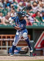 31 May 2018: New Hampshire Fisher Cats outfielder Jonathan Davis in action against the Portland Sea Dogs at Northeast Delta Dental Stadium in Manchester, NH. The Sea Dogs defeated the Fisher Cats 12-9 in extra innings. Mandatory Credit: Ed Wolfstein Photo *** RAW (NEF) Image File Available ***