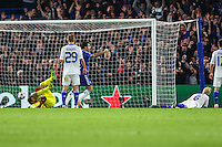 Aleksandar Dragovic of Dynamo Kyiv lays on the ground (right) as he scores an own goal to make it 1-0 during the UEFA Champions League Group match between Chelsea and Dynamo Kyiv at Stamford Bridge, London, England on 4 November 2015. Photo by David Horn.