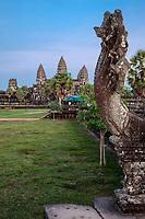 Cambodia, Angkor Wat.  Naga's Head on the Approach to Angkor Wat.