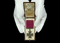 BNPS.co.uk (01202) 558833 <br /> Pic: DixNoonanWebb/BNPS<br /> <br /> Pictured: The Victoria Cross awarded to Private James Towers. <br /> <br /> The Victoria Cross awarded to a soldier who volunteered for a suicidal mission after seeing five comrades killed attempting it has today sold for £248,000.<br /> <br /> Private James Towers bravely stepped forward as the sixth man to dash out in front of enemy machine gun posts and try to get a vital message to a cut-off platoon 150 yards away.<br /> <br /> He did this despite witnessing the five previous runners - including his best friend - get cut to pieces.<br /> <br /> Pte Towers, whose medals were sold with Dix Noonan Webb, miraculously survived the mission at Mericourt on the Western Front in the final months of World War One.