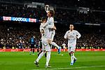 Karim Benzema (L) and Luka Modric (R) of Real Madrid celebrate goal during La Liga match between Real Madrid and Real Sociedad at Santiago Bernabeu Stadium in Madrid, Spain. November 23, 2019. (ALTERPHOTOS/A. Perez Meca)