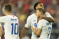 CLEVELAND, OHIO - JUNE 22: Christian Pulisic,Weston McKennie, Paul Arriola  during a 2019 CONCACAF Gold Cup group D match between the United States and Trinidad & Tobago at FirstEnergy Stadium on June 22, 2019 in Cleveland, Ohio.