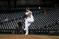 Mesa Solar Sox relief pitcher Angel Duno (79), of the Oakland Athletics organization, delivers a pitch during an Arizona Fall League game against the Scottsdale Scorpions at Sloan Park on October 10, 2018 in Mesa, Arizona. Scottsdale defeated Mesa 10-3. (Zachary Lucy/Four Seam Images)