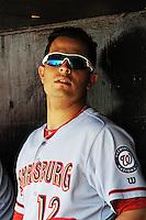 Harrisburg Senators infielder Carlos Rivero (12) during game against the Trenton Thunder at ARM & HAMMER Park on July 31, 2013 in Trenton, NJ.  Harrisburg defeated Trenton 5-3.  (Tomasso DeRosa/Four Seam Images)
