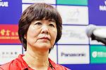 Team coach Lang Ping of China talks to media during the post match press conference of the FIVB Volleyball Nations League Hong Kong match China and Japan on May 30, 2018 in Hong Kong, Hong Kong. Photo by Chris Wong / Power Sport Images