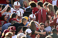 2 December 2006: Jon Cochran, Trevor Hooper and Brandon Harrison during Stanford's 26-17 loss to Cal in the 109th Big Game at Memorial Stadium in Berkeley, CA.