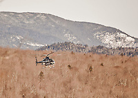 8 January 2016: A Bell 430 Helicopter, operated by the New York State Police, arrives for medieval standby during the BMW IBSF World Cup events at the Olympic Sports Track in Lake Placid, New York, USA. Mandatory Credit: Ed Wolfstein Photo *** RAW (NEF) Image File Available ***