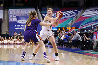 GREENSBORO, NC - MARCH 6: Taylor Ortlepp #4 of Boston College is defended by Kendall Spray #3 of Clemson University during a game between Clemson and Boston College at Greensboro Coliseum on March 6, 2020 in Greensboro, North Carolina.