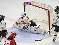 25 October 2008: University of Vermont Catamount goaltender Kristen Olychuck, a Junior from Kelowna, B.C., gives one up in the third period against the Cornell University Big Red at Gutterson Fieldhouse, in Burlington, Vermont. The Big Red defeated the Catamounts 5-1 to sweep their 2-game series in Vermont...Mandatory Photo Credit: Ed Wolfstein Photo