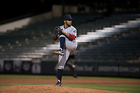 AZL Indians 2 relief pitcher Francisco Lopez (43) delivers a pitch during an Arizona League game against the AZL Angels at Tempe Diablo Stadium on June 30, 2018 in Tempe, Arizona. The AZL Indians 2 defeated the AZL Angels by a score of 13-8. (Zachary Lucy/Four Seam Images)