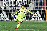 FOXBOROUGH, MA - OCTOBER 7: Alexander Bono #25 of Toronto FC clears the ball during a game between Toronto FC and New England Revolution at Gillette Stadium on October 7, 2020 in Foxborough, Massachusetts.