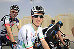 Irish Champion Matt Brammeier Omega Pharma-Quick Step arrives for the start of Stage 1 of the Tour of Qatar 2012 running 142.5km from Barzan Towers to Doha Golf Club, Doha, Qatar. 5th February 2012.<br /> (Photo by Eoin Clarke/NEWSFILE).