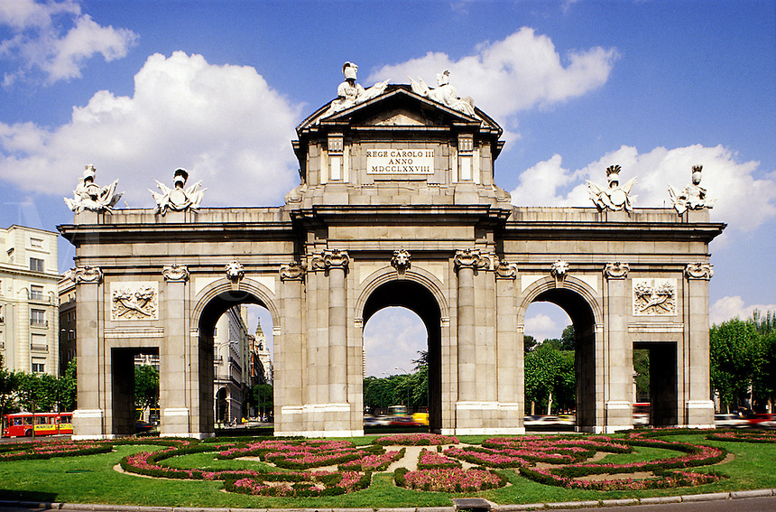 Spain. Madrid. Alcala Arch designed by Sabatini as a triumphal arch for the entry of Charles III into Madrid, in the Plaza de la Independencia.