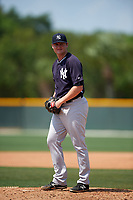 New York Yankees Jordan Foley (27) during a minor league Spring Training game against the Pittsburgh Pirates on April 1, 2016 at Pirate City in Bradenton, Florida.  (Mike Janes/Four Seam Images)
