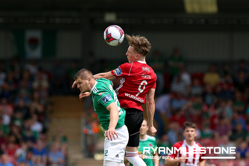 Colm Horgan of Cork in action against Ronan Curtis of Derry during the SSE Airtricity League Premier Division game between Cork City and Derry City on Monday 4th June 2018 at Turners Cross, Cork. Photo By Michael P Ryan